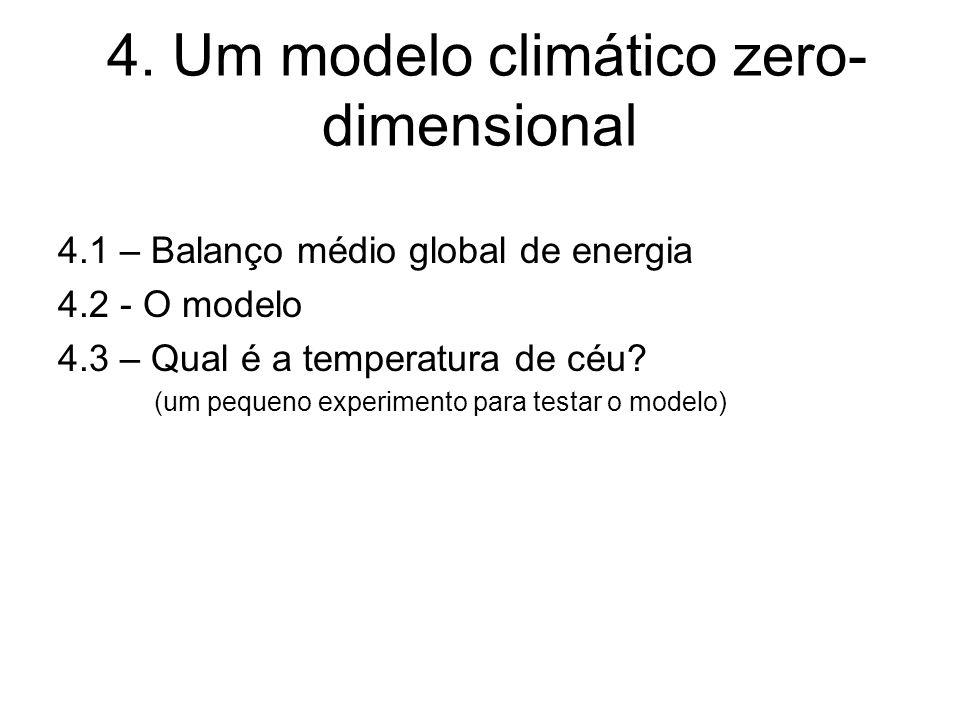4. Um modelo climático zero- dimensional 4.1 – Balanço médio global de energia 4.2 - O modelo 4.3 – Qual é a temperatura de céu? (um pequeno experimen
