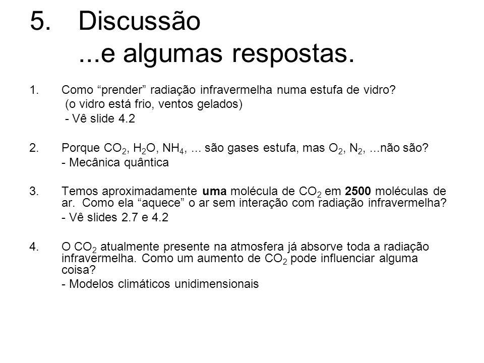 5.Discussão...e algumas respostas. 1. Como prender radiação infravermelha numa estufa de vidro? (o vidro está frio, ventos gelados) - Vê slide 4.2 2.P
