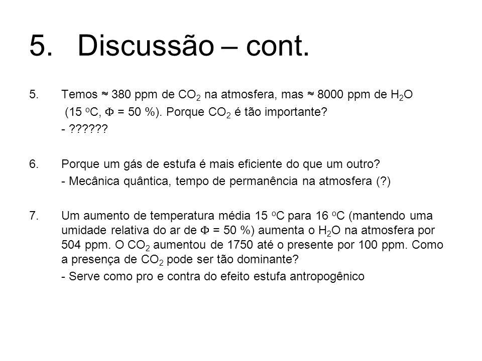 5.Discussão – cont. 5.Temos 380 ppm de CO 2 na atmosfera, mas 8000 ppm de H 2 O (15 o C, = 50 %). Porque CO 2 é tão importante? - ?????? 6.Porque um g