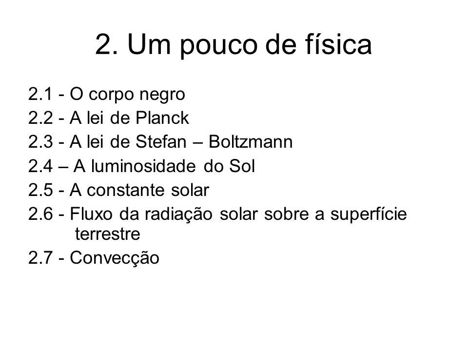 2. Um pouco de física 2.1 - O corpo negro 2.2 - A lei de Planck 2.3 - A lei de Stefan – Boltzmann 2.4 – A luminosidade do Sol 2.5 - A constante solar