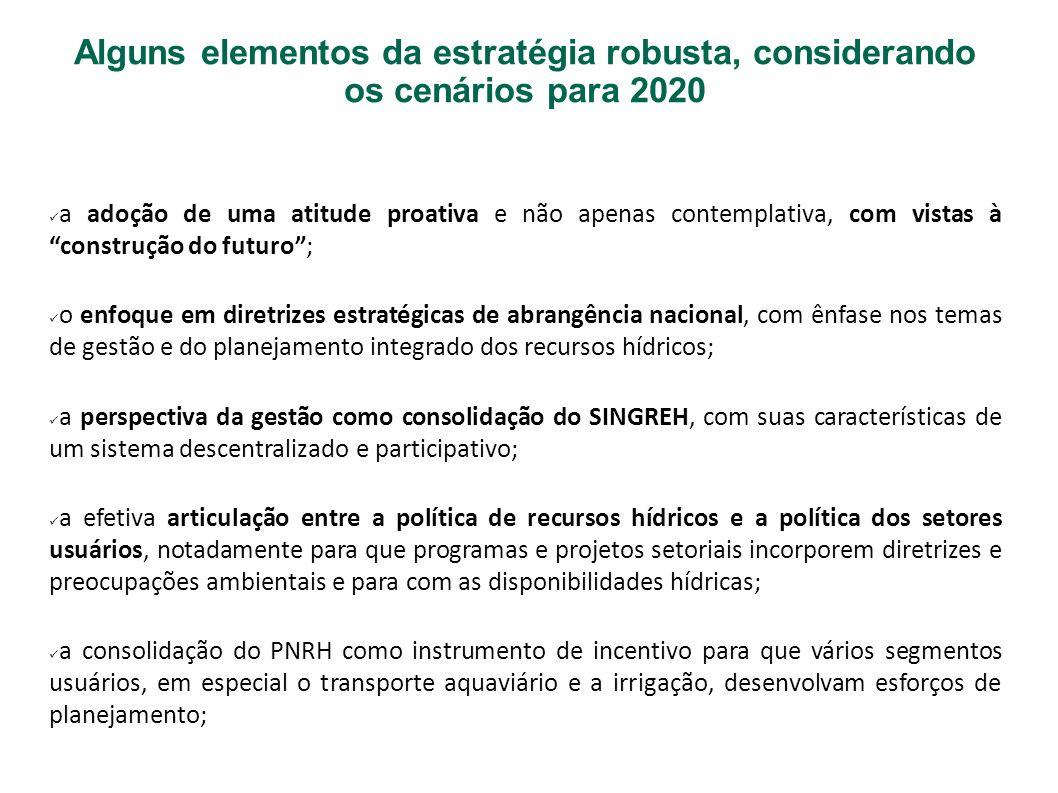 Alguns elementos da estratégia robusta, considerando os cenários para 2020 a adoção de uma atitude proativa e não apenas contemplativa, com vistas à c