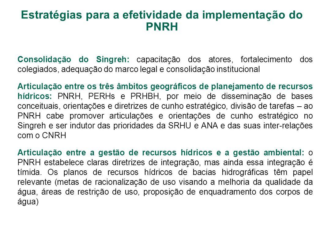 Estratégias para a efetividade da implementação do PNRH Consolidação do Singreh: capacitação dos atores, fortalecimento dos colegiados, adequação do m