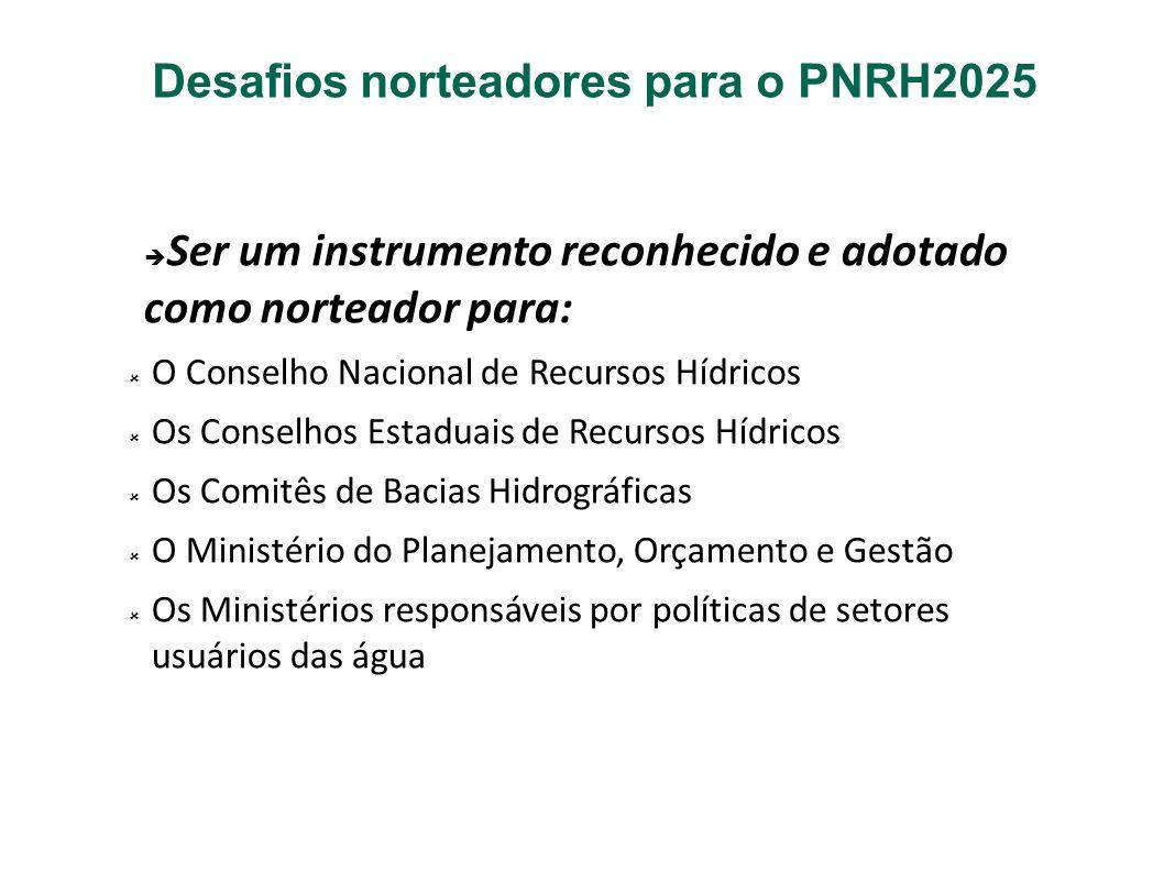 Desafios norteadores para o PNRH2025 Ser um instrumento reconhecido e adotado como norteador para: O Conselho Nacional de Recursos Hídricos Os Conselh