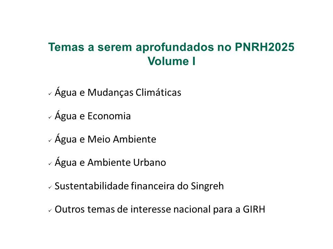 Temas a serem aprofundados no PNRH2025 Volume I Água e Mudanças Climáticas Água e Economia Água e Meio Ambiente Água e Ambiente Urbano Sustentabilidad