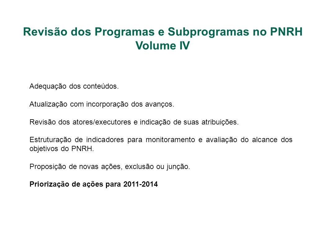 Revisão dos Programas e Subprogramas no PNRH Volume IV Adequação dos conteúdos. Atualização com incorporação dos avanços. Revisão dos atores/executore