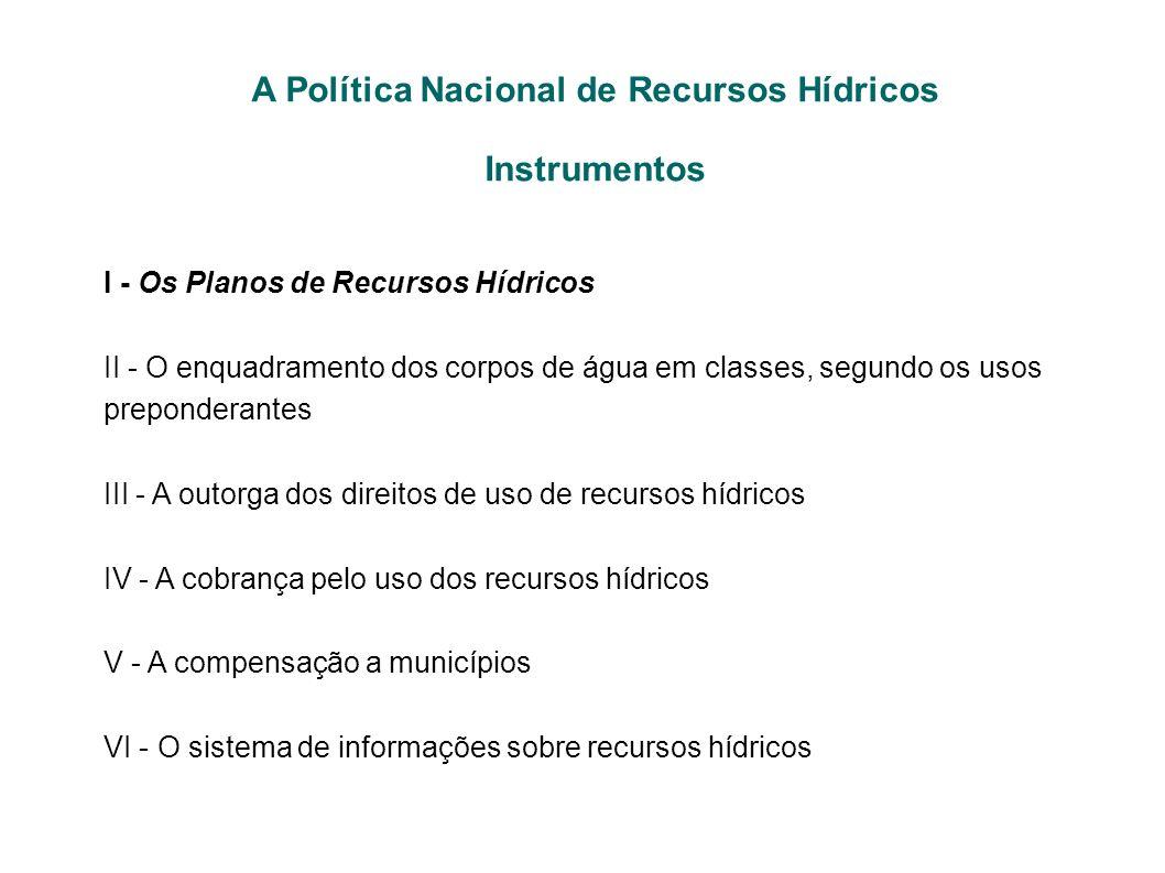 I - Os Planos de Recursos Hídricos II - O enquadramento dos corpos de água em classes, segundo os usos preponderantes III - A outorga dos direitos de