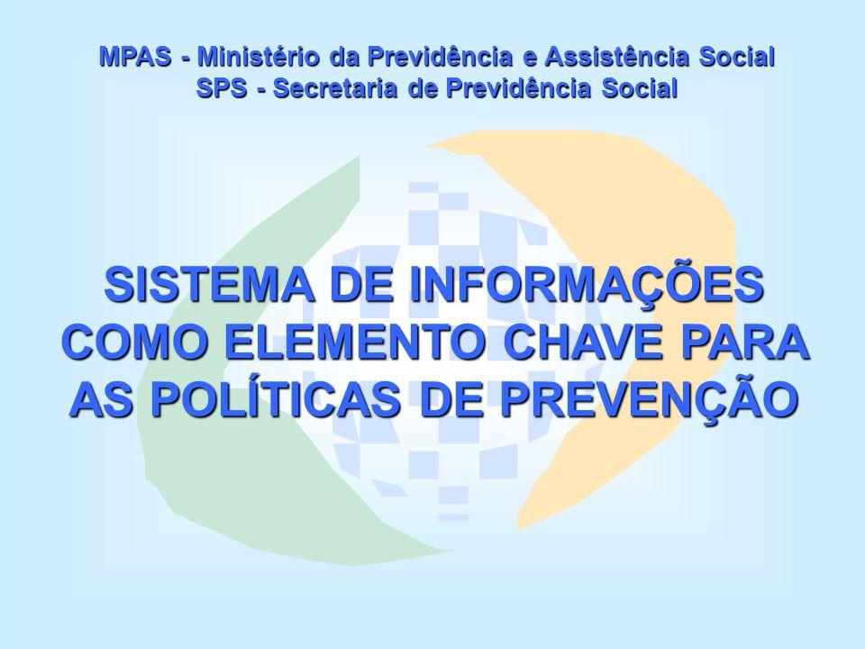 MPAS - Ministério da Previdência e Assistência Social SPS - Secretaria de Previdência Social SISTEMA DE INFORMAÇÕES COMO ELEMENTO CHAVE PARA AS POLÍTICAS DE PREVENÇÃO