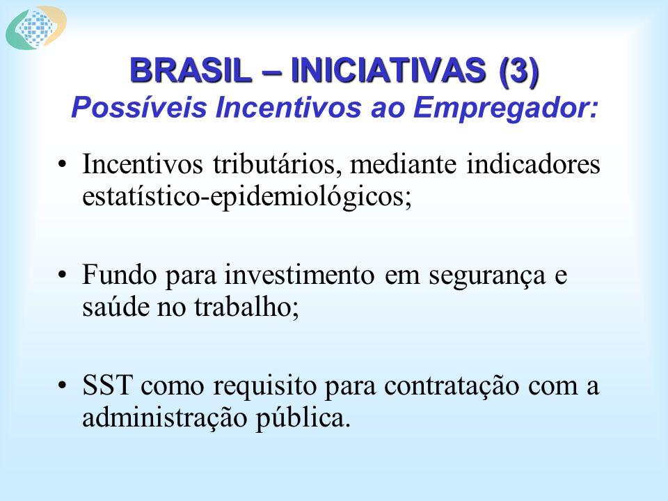 BRASIL – INICIATIVAS (3) BRASIL – INICIATIVAS (3) Possíveis Incentivos ao Empregador: Incentivos tributários, mediante indicadores estatístico-epidemiológicos; Fundo para investimento em segurança e saúde no trabalho; SST como requisito para contratação com a administração pública.