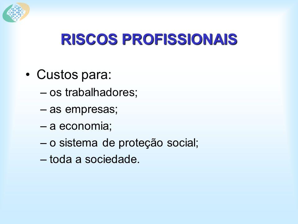 RISCOS PROFISSIONAIS Custos para: –os trabalhadores; –as empresas; –a economia; –o sistema de proteção social; –toda a sociedade.