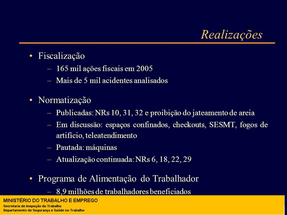 Realizações Fiscalização –165 mil ações fiscais em 2005 –Mais de 5 mil acidentes analisados Normatização –Publicadas: NRs 10, 31, 32 e proibição do ja