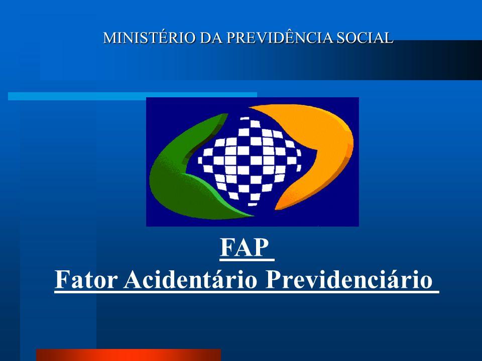 FAP = [ 0,5000 ; 2,000 ] Fator Acidentário Previdenciário - FAP CNAE grau leve 1% 1% 3.500.000 empresas 560 CNAE CNAE grau médio 2% 2% CNAE grau grave 3% 3% 1% 0,5% a 2% 2% 1% a 4 % 3% 1,5% a 6 %