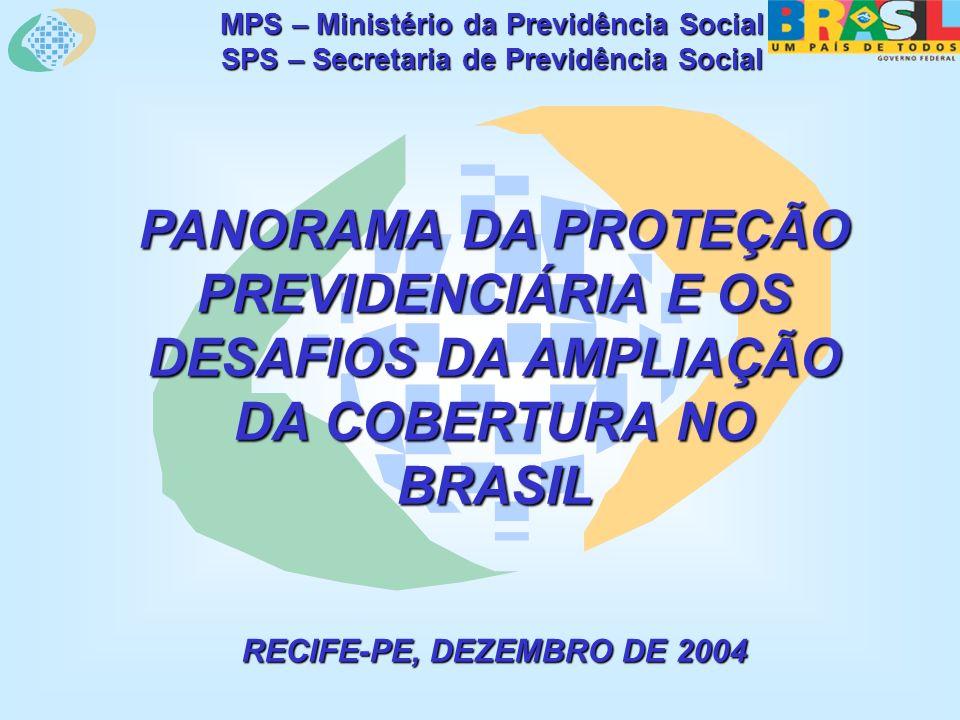 MPS – Ministério da Previdência Social SPS – Secretaria de Previdência Social PANORAMA DA PROTEÇÃO PREVIDENCIÁRIA E OS DESAFIOS DA AMPLIAÇÃO DA COBERTURA NO BRASIL RECIFE-PE, DEZEMBRO DE 2004