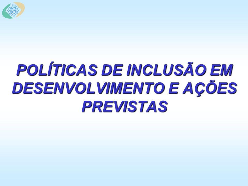 POLÍTICAS DE INCLUSÃO EM DESENVOLVIMENTO E AÇÕES PREVISTAS