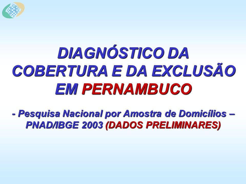 DIAGNÓSTICO DA COBERTURA E DA EXCLUSÃO EM PERNAMBUCO - Pesquisa Nacional por Amostra de Domicílios – PNAD/IBGE 2003 (DADOS PRELIMINARES)