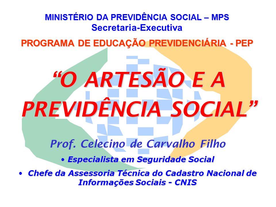 MINISTÉRIO DA PREVIDÊNCIA SOCIAL – MPS Secretaria-Executiva PROGRAMA DE EDUCAÇÃO PREVIDENCIÁRIA - PEP O ARTESÃO E A PREVIDÊNCIA SOCIAL Prof. Celecino