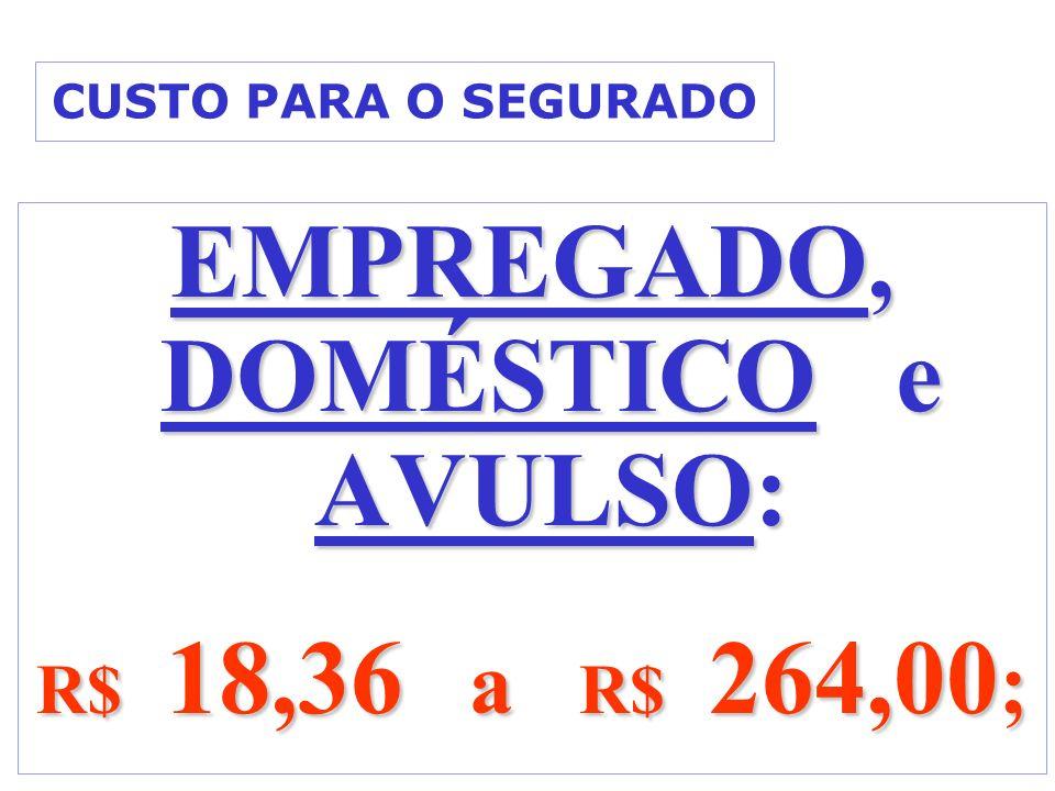 CUSTO PARA O SEGURADO EMPREGADO, DOMÉSTICO e AVULSO: R$ 18,36 a R$ 264,00 ;
