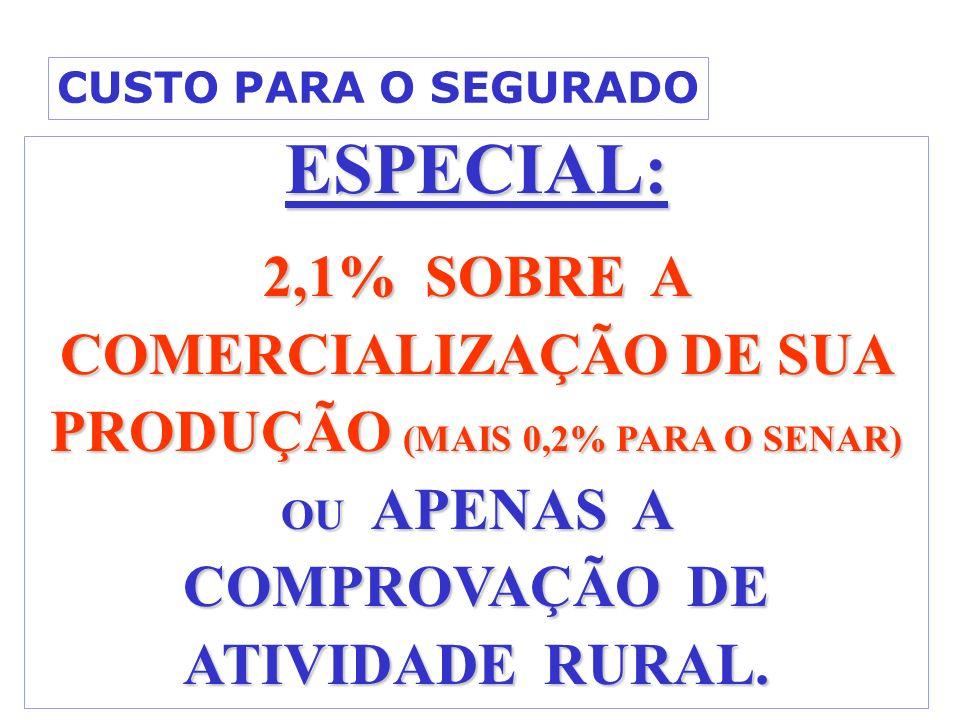 ESPECIAL: 2,1% SOBRE A COMERCIALIZAÇÃO DE SUA PRODUÇÃO (MAIS 0,2% PARA O SENAR) OU APENAS A COMPROVAÇÃO DE ATIVIDADE RURAL. CUSTO PARA O SEGURADO
