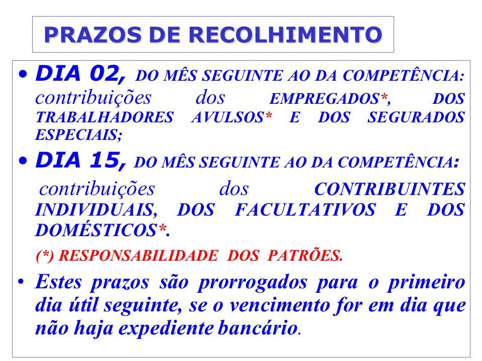 PRAZOS DE RECOLHIMENTO DIA 02, DO MÊS SEGUINTE AO DA COMPETÊNCIA: contribuições dos EMPREGADOS*, DOS TRABALHADORES AVULSOS* E DOS SEGURADOS ESPECIAIS; DIA 15, DO MÊS SEGUINTE AO DA COMPETÊNCIA : contribuições dos CONTRIBUINTES INDIVIDUAIS, DOS FACULTATIVOS E DOS DOMÉSTICOS*.