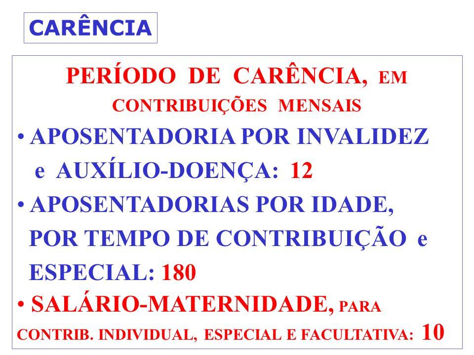 CARÊNCIA PERÍODO DE CARÊNCIA, EM CONTRIBUIÇÕES MENSAIS APOSENTADORIA POR INVALIDEZ e AUXÍLIO-DOENÇA: 12 APOSENTADORIAS POR IDADE, POR TEMPO DE CONTRIBUIÇÃO e ESPECIAL: 180 SALÁRIO-MATERNIDADE, PARA CONTRIB.