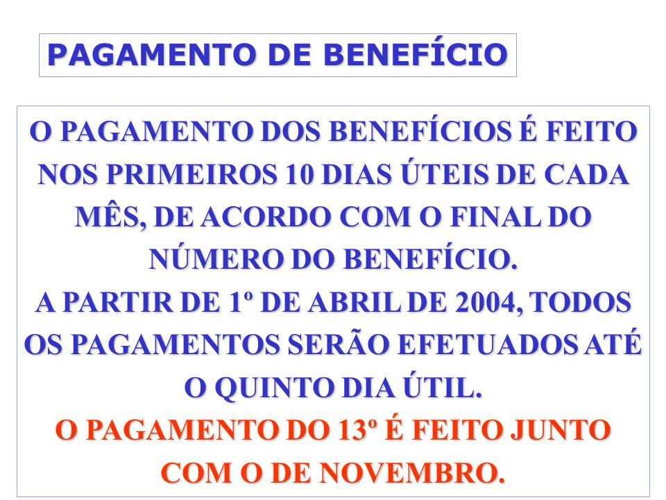 PAGAMENTO DE BENEFÍCIO O PAGAMENTO DOS BENEFÍCIOS É FEITO NOS PRIMEIROS 10 DIAS ÚTEIS DE CADA MÊS, DE ACORDO COM O FINAL DO NÚMERO DO BENEFÍCIO.