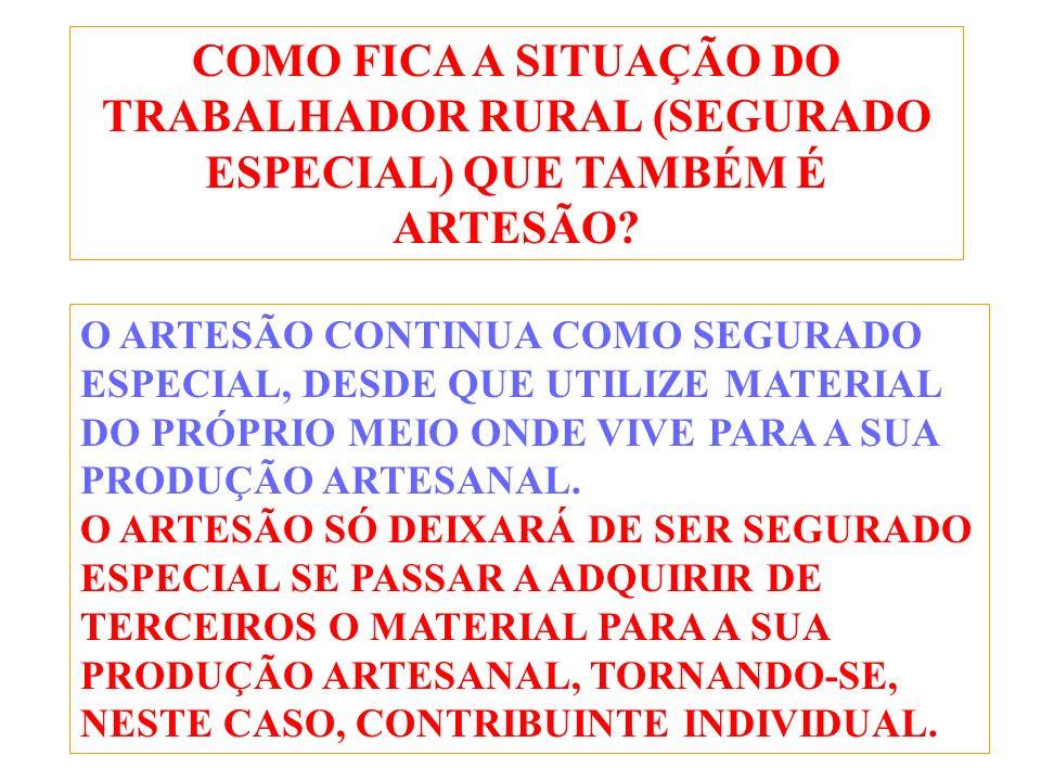 COMO FICA A SITUAÇÃO DO TRABALHADOR RURAL (SEGURADO ESPECIAL) QUE TAMBÉM É ARTESÃO.