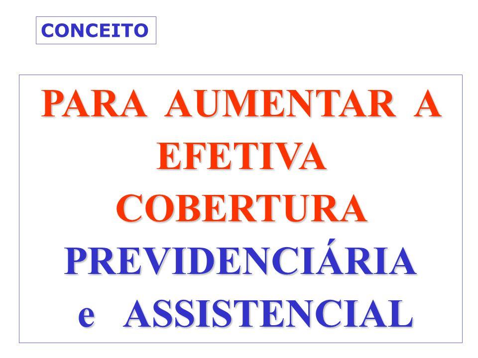 PARA AUMENTAR A EFETIVA COBERTURA PREVIDENCIÁRIA e ASSISTENCIAL e ASSISTENCIAL CONCEITO