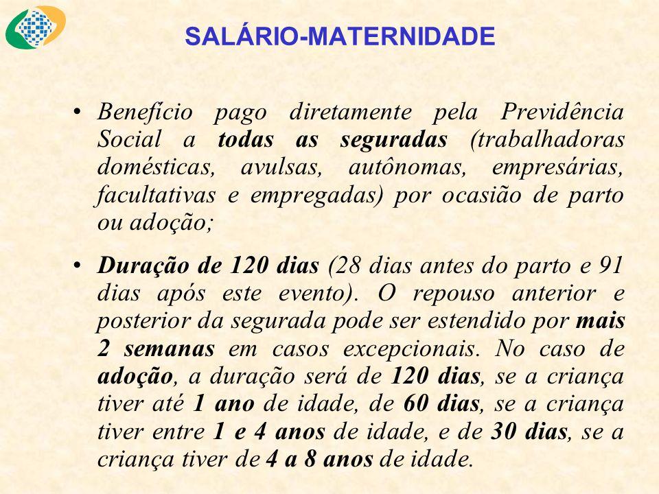 SALÁRIO-MATERNIDADE Benefício pago diretamente pela Previdência Social a todas as seguradas (trabalhadoras domésticas, avulsas, autônomas, empresárias