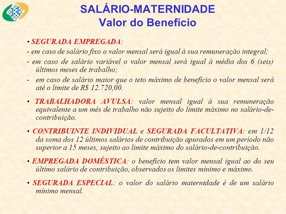 SALÁRIO-MATERNIDADE Valor do Benefício SEGURADA EMPREGADA: - em caso de salário fixo o valor mensal será igual à sua remuneração integral; - em caso d
