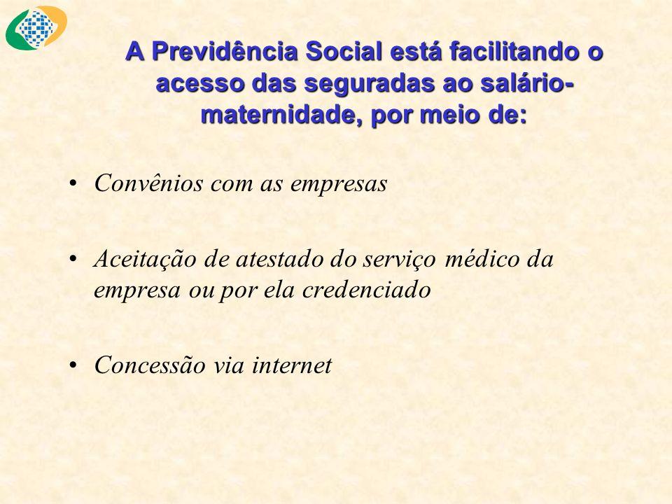A Previdência Social está facilitando o acesso das seguradas ao salário- maternidade, por meio de: Convênios com as empresas Aceitação de atestado do