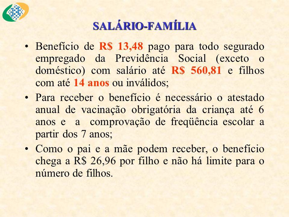 SALÁRIO-FAMÍLIA Benefício de R$ 13,48 pago para todo segurado empregado da Previdência Social (exceto o doméstico) com salário até R$ 560,81 e filhos
