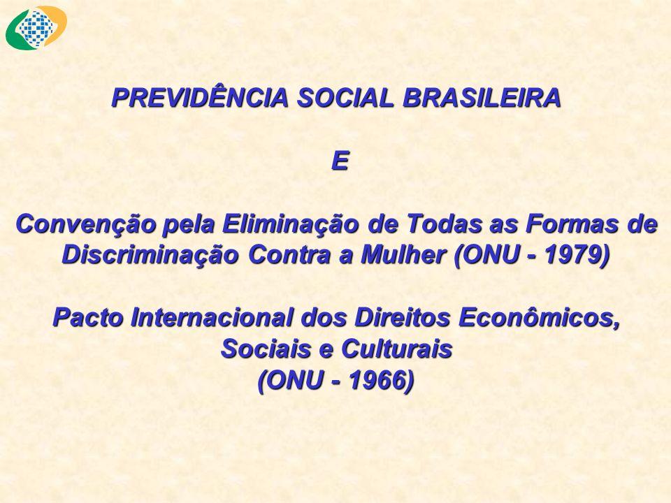 PREVIDÊNCIA SOCIAL BRASILEIRA E Convenção pela Eliminação de Todas as Formas de Discriminação Contra a Mulher (ONU - 1979) Pacto Internacional dos Dir