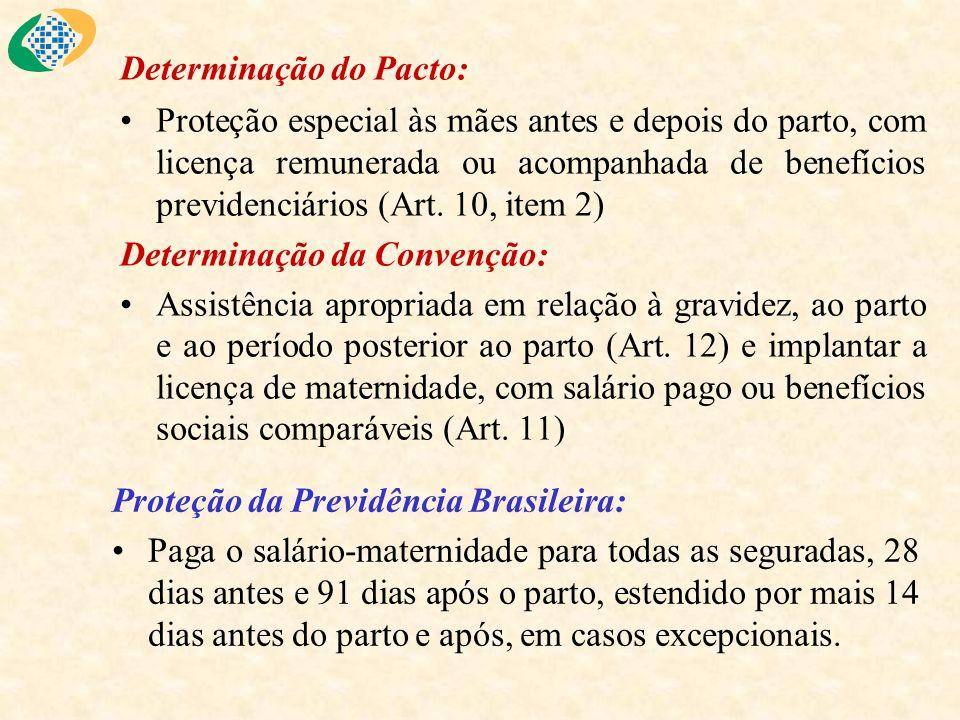 Determinação do Pacto: Proteção especial às mães antes e depois do parto, com licença remunerada ou acompanhada de benefícios previdenciários (Art. 10