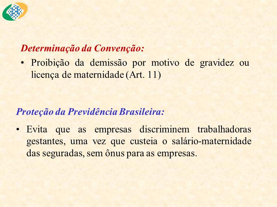 Determinação da Convenção: Proibição da demissão por motivo de gravidez ou licença de maternidade (Art. 11) Proteção da Previdência Brasileira: Evita