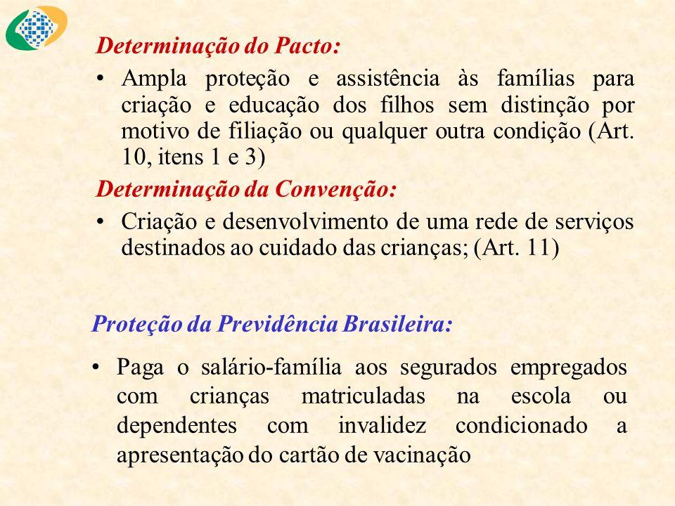Determinação do Pacto: Ampla proteção e assistência às famílias para criação e educação dos filhos sem distinção por motivo de filiação ou qualquer ou