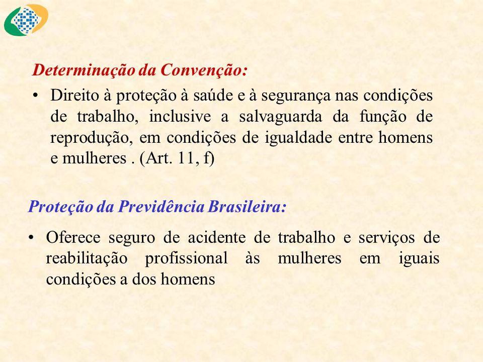 Determinação da Convenção: Direito à proteção à saúde e à segurança nas condições de trabalho, inclusive a salvaguarda da função de reprodução, em con