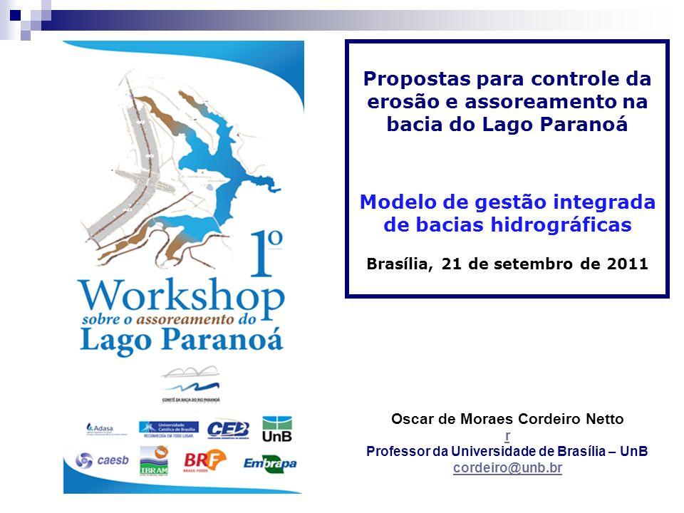 Propostas para controle da erosão e assoreamento na bacia do Lago Paranoá Modelo de gestão integrada de bacias hidrográficas Brasília, 21 de setembro
