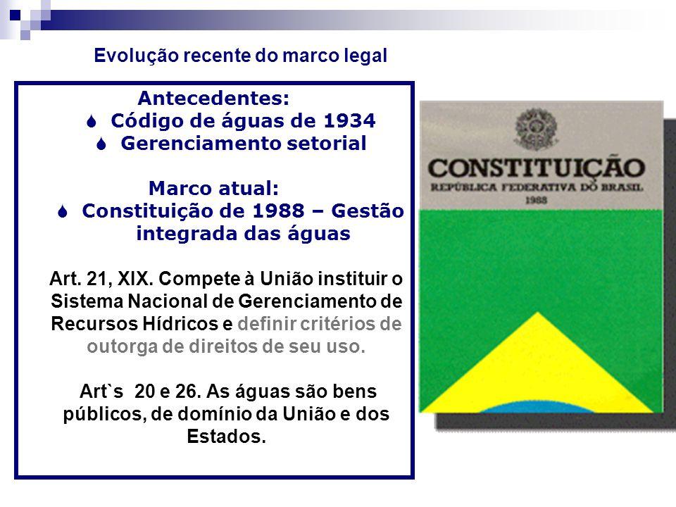 Antecedentes: Código de águas de 1934 Gerenciamento setorial Marco atual: Constituição de 1988 – Gestão integrada das águas Art. 21, XIX. Compete à Un