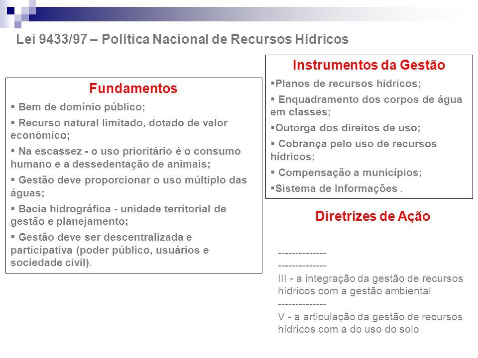 Lei 9433/97 – Política Nacional de Recursos Hídricos Fundamentos Bem de domínio público; Recurso natural limitado, dotado de valor econômico; Na escas