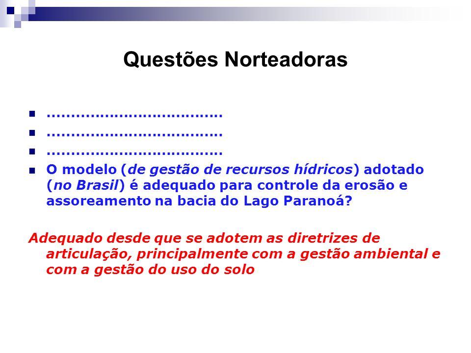 Questões Norteadoras..................................... O modelo (de gestão de recursos hídricos) adotado (no Brasil) é adequado para controle da er