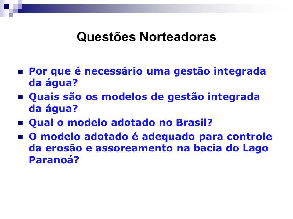 Questões Norteadoras Por que é necessário uma gestão integrada da água? Quais são os modelos de gestão integrada da água? Qual o modelo adotado no Bra