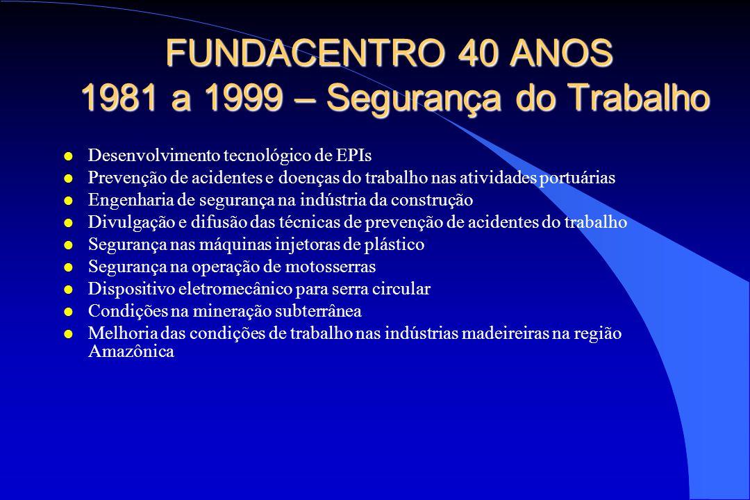 FUNDACENTRO 40 ANOS 1981 a 1999 – Segurança do Trabalho l Desenvolvimento tecnológico de EPIs l Prevenção de acidentes e doenças do trabalho nas ativi