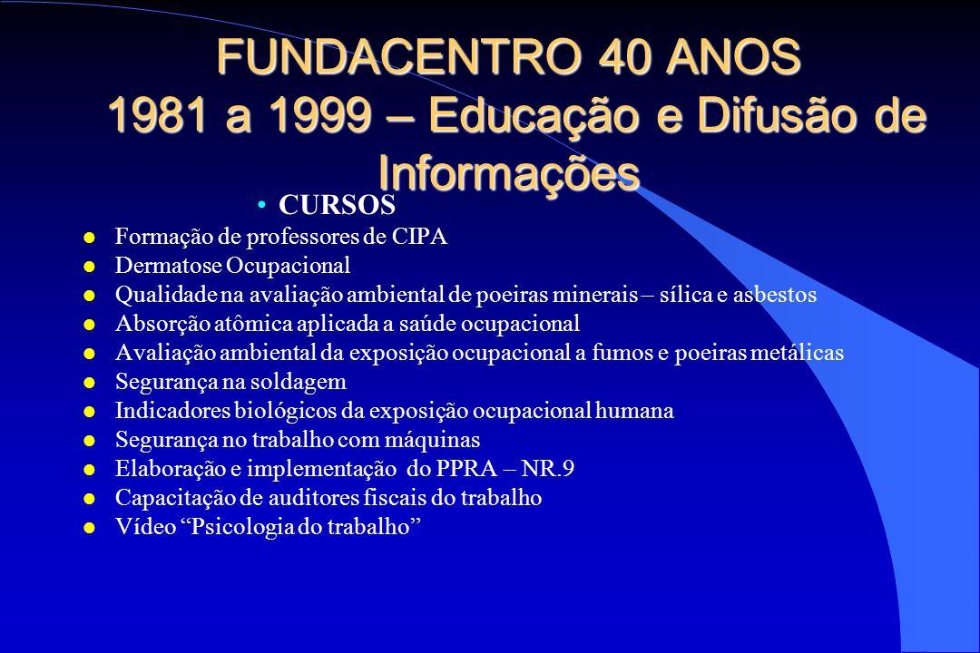 FUNDACENTRO 40 ANOS 1981 a 1999 – Educação e Difusão de Informações CURSOS l Formação de professores de CIPA l Dermatose Ocupacional l Qualidade na av
