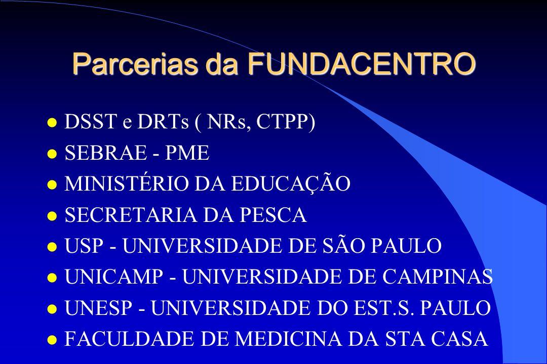 Parcerias da FUNDACENTRO l DSST e DRTs ( NRs, CTPP) l SEBRAE - PME l MINISTÉRIO DA EDUCAÇÃO l SECRETARIA DA PESCA l USP - UNIVERSIDADE DE SÃO PAULO l