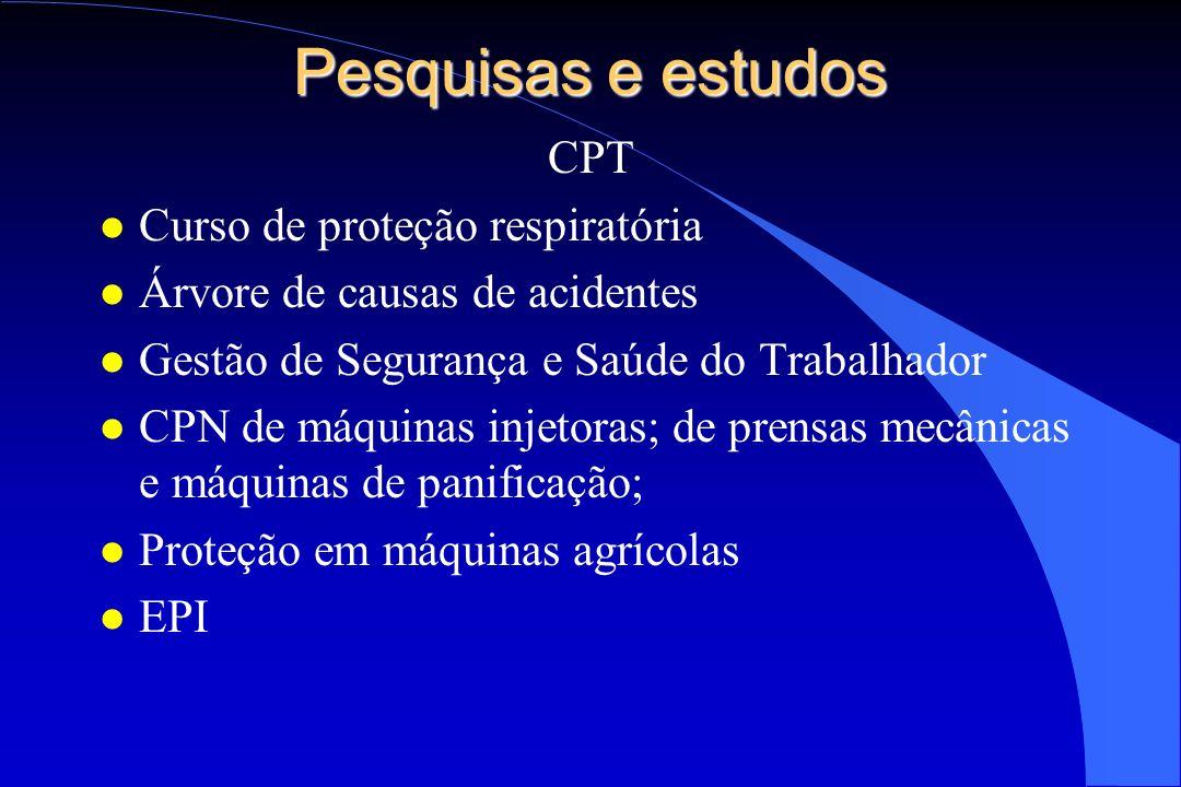 Pesquisas e estudos CPT l Curso de proteção respiratória l Árvore de causas de acidentes l Gestão de Segurança e Saúde do Trabalhador l CPN de máquina