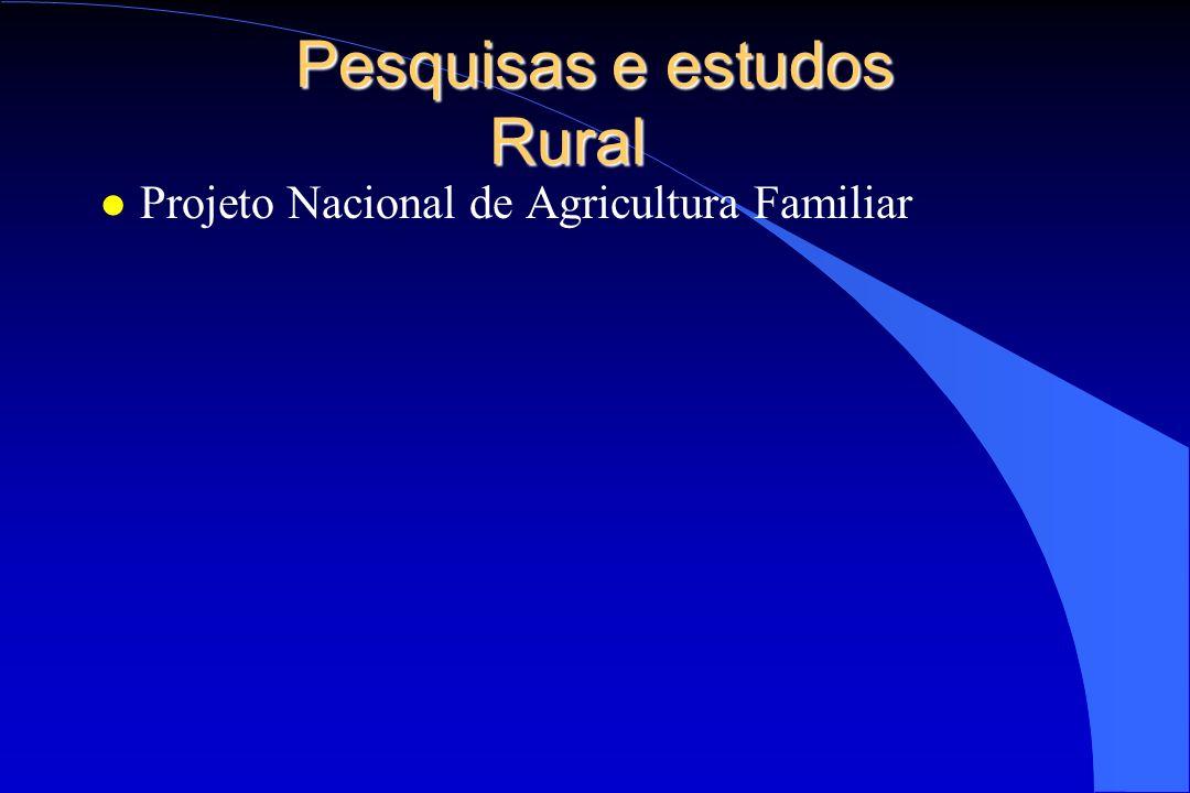 Pesquisas e estudos Rural l Projeto Nacional de Agricultura Familiar