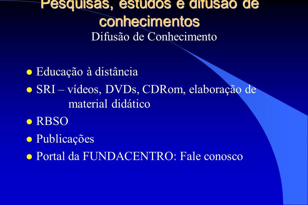 Pesquisas, estudos e difusão de conhecimentos Difusão de Conhecimento l Educação à distância l SRI – vídeos, DVDs, CDRom, elaboração de material didát