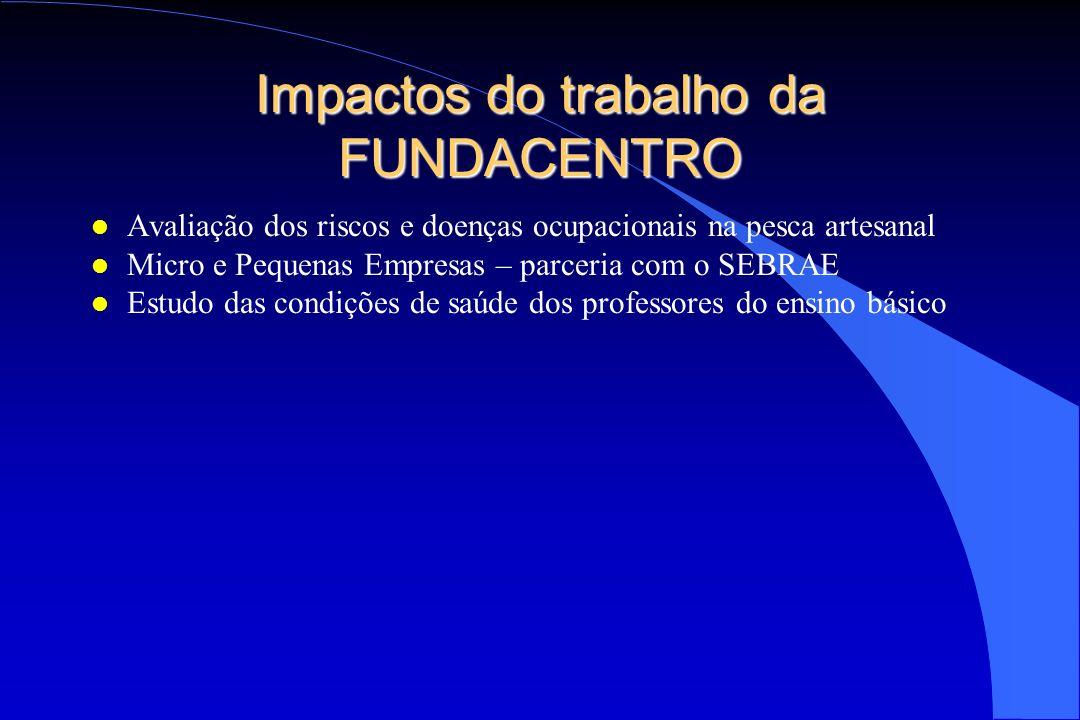 Impactos do trabalho da FUNDACENTRO l Avaliação dos riscos e doenças ocupacionais na pesca artesanal l Micro e Pequenas Empresas – parceria com o SEBR