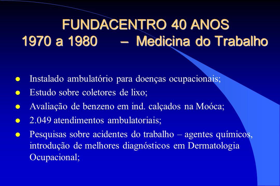 FUNDACENTRO 40 ANOS 1970 a 1980– Medicina do Trabalho l Instalado ambulatório para doenças ocupacionais; l Estudo sobre coletores de lixo; l Avaliação