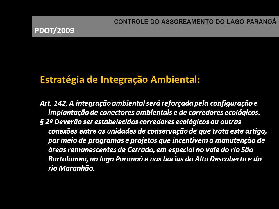 CONTROLE DO ASSOREAMENTO DO LAGO PARANOÁ PDOT/2009 Estratégia de Integração Ambiental: Art. 142. A integração ambiental será reforçada pela configuraç