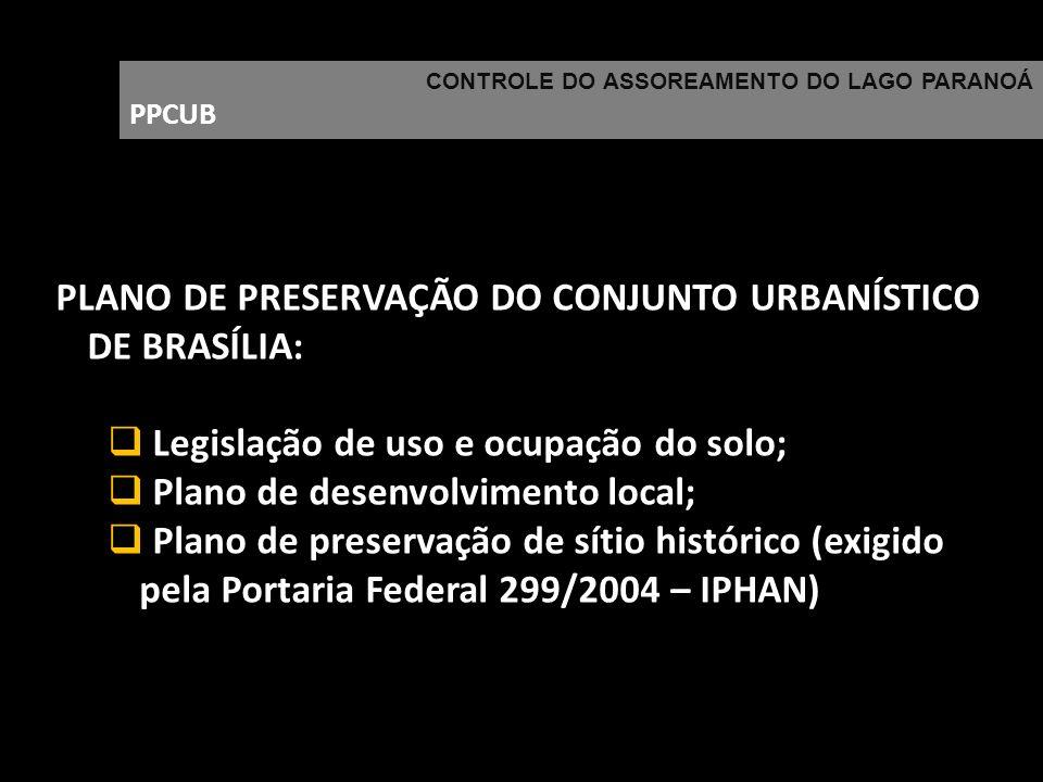 CONTROLE DO ASSOREAMENTO DO LAGO PARANOÁ PPCUB PLANO DE PRESERVAÇÃO DO CONJUNTO URBANÍSTICO DE BRASÍLIA: Legislação de uso e ocupação do solo; Plano d